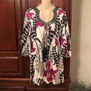 Trina Turk Silk Dress Bell Sleeves